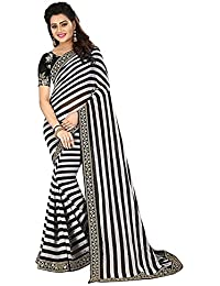 Dheylu Creation Silk & Georgette Saree With Blouse Piece (Saree-Multi-Coloured_Free Size)