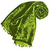 Lorenzo Cana Luxus Herren Schal Luxustuch elegant gewebt in Damast Webung florales Paisley Muster aus Viskose mit Seide modischer grüner Männerschal 55 cm x 190 cm