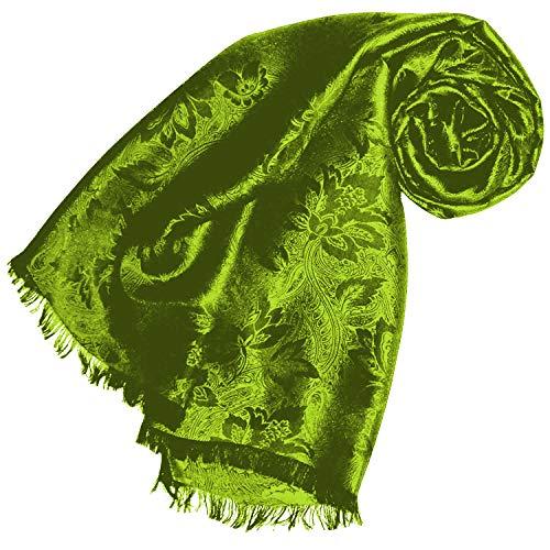 Lorenzo Cana Luxus Herren Schal Luxustuch elegant gewebt in Damast Webung florales Paisley Muster aus Viskose mit Seide modischer grüner Männerschal 55 cm x 190 cm 891001177