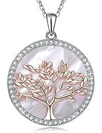 d365345e4ad8 MEGA CREATIVE JEWELRY Collar para Mujer Árbol de la Vida Plata 925 con Cristales  Swarovski