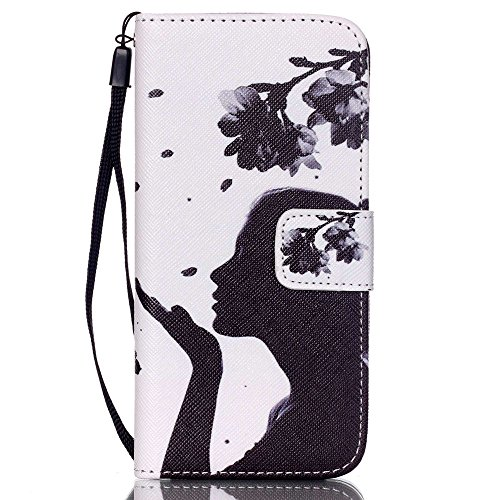 Linvei Handytasche for iPhone 6/iphone 6s flip leder handyhülle mit Bunte Printing Muster Wallet Case und TPU Inner Backcover Beautiful Girl