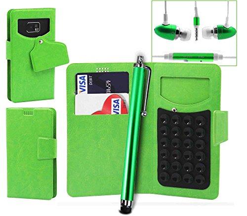 Pour HTC Desire 510 Portefeuille et étui de protection à ventouses en cuir PU très fin de très grande qualité avec stylet et Écouteurs intra-auriculaires - Blanc/White - par Gadget Giant® Vert/Green - avec écouteurs + Stylet