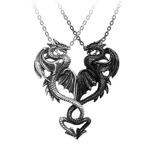 Alchemy Gothic Draconic Tryst Halskette schwarz/silberfarben