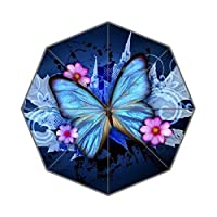 EnnE Butterfly Umbrella Rain Windproof Compact Folding Travel Umbrella UV Protection
