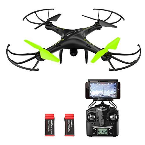 Potensic U42W Drone con Telecamera HD, Actualizado WiFi FPV 2.4GHz 4CH 6-Axis Gyro RC Quadcopter Drone Videocamara RTF Suspension de Altura UFO Prima Hover, Modo sin Cabeza, Flip 3D, 2 Baterías