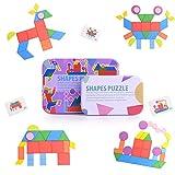 HellDoler Tangram Puzzle Bambini,34 Pezzi Tangram Legno Puzzle in Legno Tangram Montessori Giocattoli con 60 Carte di Design