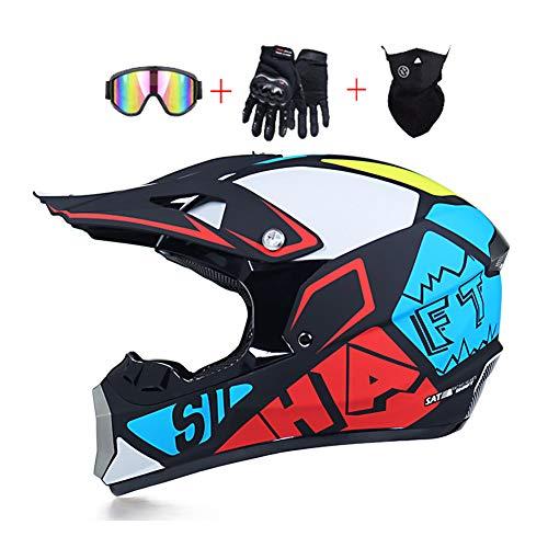 LEENY Motocross-Helm, Herren Motorradhelm D.O.T-Zertifizierung Crosshelm mit Brille/Maske/Handschuhe, Motorrad Sports Off-Road DH ATV MTB Quad Motorräder Enduro-Helm für Männer Damen, Mehrfarbig,L