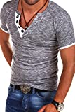 MT Styles V-Neck Buttons T-Shirt Polo BS-544 [grey, S]