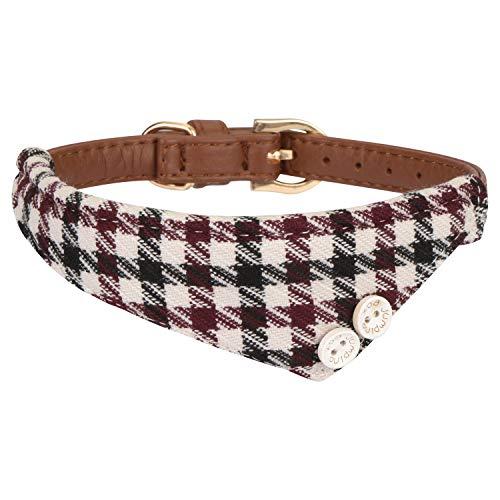 Leder Halstuch (Hanko Süßes Leder Haustier Halsband, Plaid Dreiecktuch Dreiecktuchkrawatte Stil für Hunde, Katzen, Kleines Haustier Outfits Zubehör)