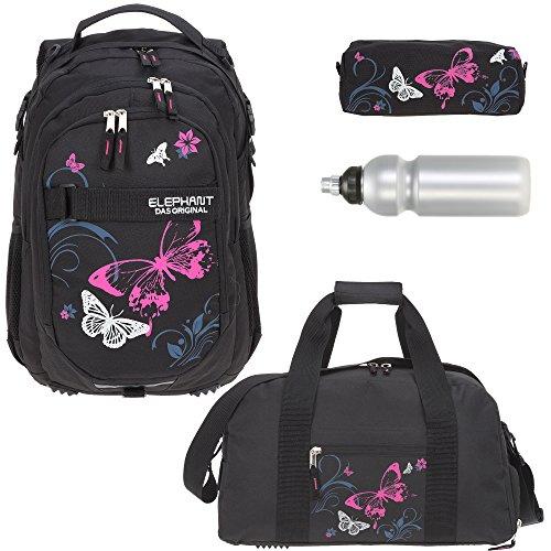 4 Teile Set ELEPHANT Schulrucksack Hero Signature + Sporttasche + Mäppchen + Flasche Motiv 12679 (Butterfly Black PINK)
