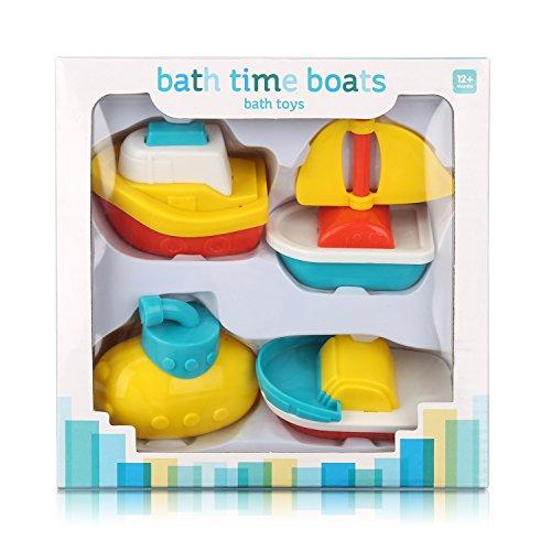 Muuttaa Badewannenspielzeug, Bootsortiment, Geschenk Set für Baby, 4 Teilig Badespielzeug, Baby Wasserspaß, Wasserspielzeug ,Ungiftiges Material, Sicher und Lustig