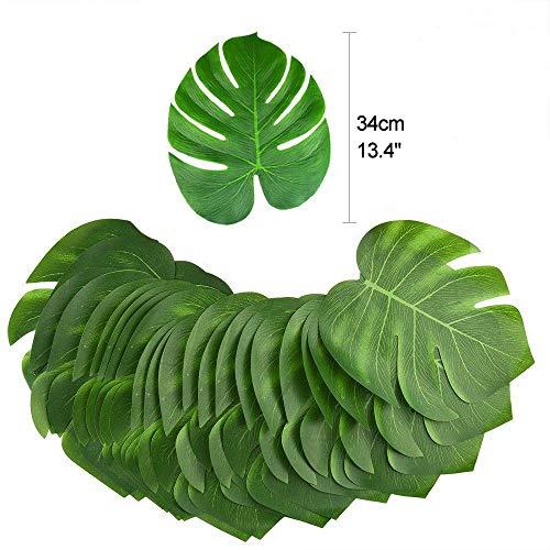 Sel-More Tropical Palm Blätter Pflanze Nachahmung Hawaiian Luau Party Jungle Beach Thema BBQ Geburtstag Party Tischdekorationen Green 12pc