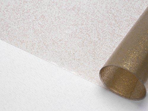 Transparente Folie mit Glitzer Effekt Gold, Glitter Metallic Tischdecke transparent, eckig Größe wählbar (240 x 140 cm)