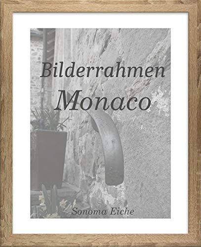 Homedeco-24 Monaco MDF Bilderrahmen ohne Rundungen 50 x 65 cm Größe wählbar 65 x 50 cm Sonoma Eiche mit Acrylglas Antireflex Spiegelfrei 1 mm -