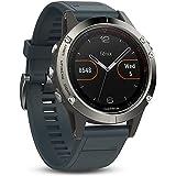 Garmin - Fēnix 5 HR Silver avec Bracelet Bleu Granite - Montre GPS Multisports Outdoor
