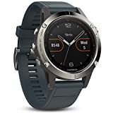 Garmin Fenix 5 Multisport GPS Watch with Outdoor Navigation and Wrist-Based Heart Rate - Silver with Granite Blue Band