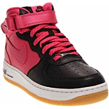 Nike Air Force 1 Mid (GS), Zapatillas de Baloncesto Para Niñas, Negro/Rosa/Blanco (Black/Vivid Pink-White), 38 1/2 EU