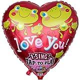 """Ballongruesse - Singender Ballon Frösche """"I love you"""" (70cm gasgefüllt im Karton) romantisches Geschenk zum Valentinstag als Liebesgeschenk Liebesbeweis Liebesgrüße Präsent Überraschung Geschenkidee Geburtstagsgrüße Geburtstagsgeschenk Geburtstagsdekoration Deko oder Dekoration kreativ originell, gasgefüllte schwebende fliegende Ballons Folienballons Luftballons Musikballons mit Helium Ballongas"""