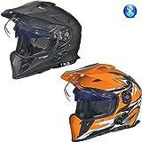 RX-968 COM Bluetooth Crosshelm Integralhelm Quad Cross Enduro Motocross Offroad Helm rueger, Größe:M (57-58), Farbe:Orange V/RCK