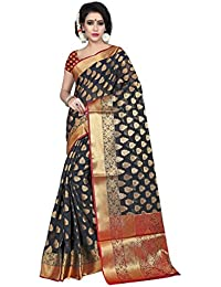 Silk Zone Women's Banarasi Silk Black Silk Saree With Blouse Piece(SILKZ00085_Black_Free Size)