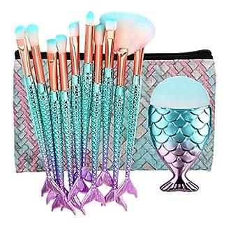 RIXTHY Set de Brochas de Maquillaje Sirena,con Esponja y Bolsa Grande de Cosmético,11piezas Maquillaje Profesional Pinceles Conveniente para Viaje,Fiesta (Multicolor)