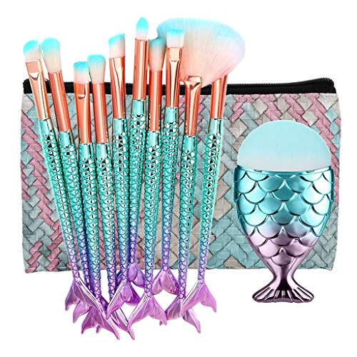 HoSayLike 11PCS Pinsel Set Make Up Meerjungfrau Foundation Kosmetik Pinselset Premium Schminkpinsel...