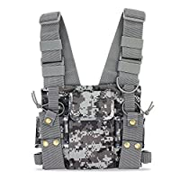 KEESIN Radio Walkie Talkie Chest Pocket Harness Bags Pack Backpack Holster Two Way Radios Carry Case Accessory Holder (Camouflage)