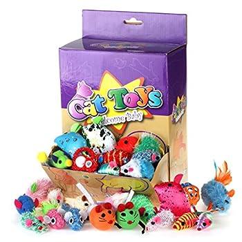 Chiwava 36 pièces Cadeaux de Noël jouet pour chat souris 16 types assortis Mouse Lot de différents pour chaton Animal Jouets interactifs