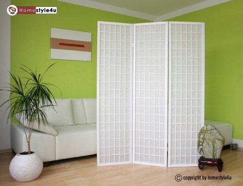 Homestyle4u 3 fach Paravent Raumteiler - Holz Trennwand Shoji in weiß Reispapier weiß
