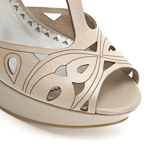ALESYA by Scarpe&Scarpe - Sandalen mit Absatz, Lochmuster und Plateausohle, Leder, mit Absätzen 10 cm Grau