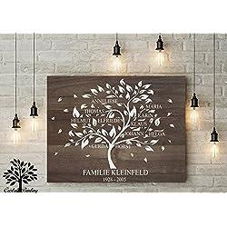 70x50 cm, Stammbaum, Familienstammbaum Leinwanddruck-Stammbaum, Genealogie Baum, Family tree, Family baum,