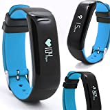Smart Band P1 / Sport - Fitness Armband mit Herzfrequenz und Pulsmesser / Activity watch Tracker / Uhr / Wasserdicht IP67 - BLAU
