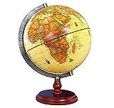 Exerz (L - Durchmesser 25 cm Antiker Globus mit Holzfuß - in Englischer Sprache