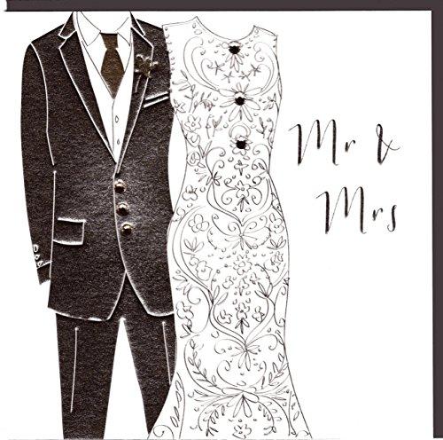 """Belly Button Designs Paloma bezaubernde Glückwunschkarte zur Hochzeit """"Mr & Mrs"""" mit Prägung, Folie und Kristallen BB180"""