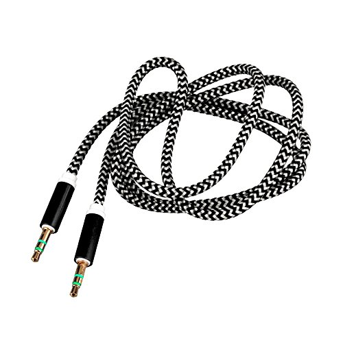 RASU Fabric Woven Braided 3.5mm to 3.5mm Universal AUX TangleFree Auxiliary Cable for Car Stereo,Mobile Phones,CD,MP3,DVD,MP4 Players 1.5m Long Colorful Tangle Free. Compatible with HPL A50 DUAL CORE  available at amazon for Rs.199