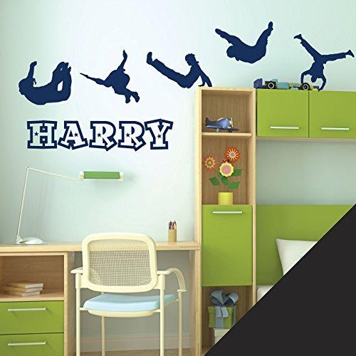 (Personalisierte Namen Jungen Art Wand Aufkleber–Parkour Thema–[nur Nachricht uns mit der Name.], schwarz, M 580 x 150 mm)