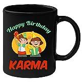 Huppme Happy Birthday Karma Black Ceramic Mug (350 ml)