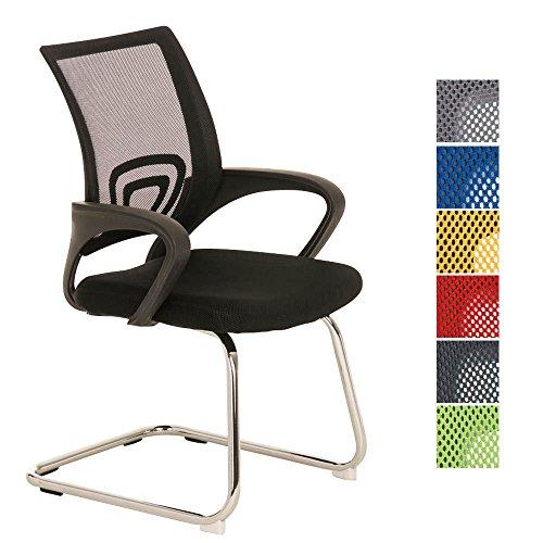 CLP Freischwinger-Stuhl mit Armlehne EUREKA, idealer Besucherstuhl / Konferenzstuhl Schwarz