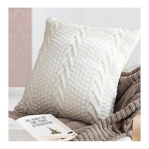 Housse de coussin en tricot tricoté Taie d'oreiller Motif à chevrons irlandais Coussin Décoration Canapé Taie d'oreiller, 45x 45cm/45x 45cm, Coton, blanc, 18