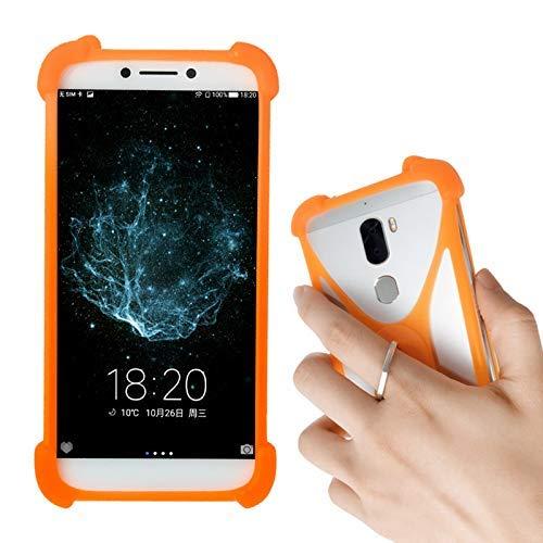 Lankashi Orange Silikon Schutz Tasche Hülle Case Ring Halter Ständ Cover Handy Etui Handyhülle Handytasche Für Oukitel C10 C11 Pro C8 C5 Pro C4 U23 U19 U17 U22 U10 U11 U13 U16 U15s U20 Plus Universal