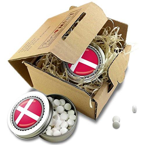 FAN MINT | 2er Set Pfefferminz Bonbons mit Dänemark Fahne | Fußball Fanartikel 2019 Dänemark