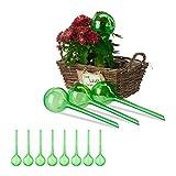 Relaxdays Set 12x Sfere per irrigazione, dosatori d'Acqua per Piante da Vaso, Ornamentali, Durata 2 Settimane, in plastica, Verde