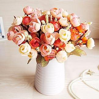 XCZHJ Flores Decorativas Artificiales Jarrón Cerámica Artificial Camelia Estilo Rural Naranja C Los Productos de Flores Incluyen:Flores Artificiales,Flores Artificiales Blancas.