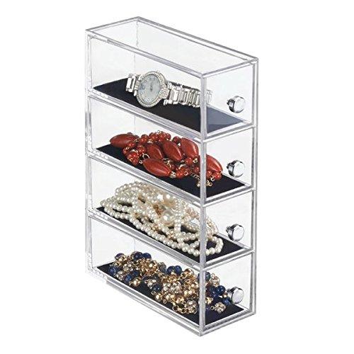 mDesign Schmuck-Organizer - Aufbewahrungsbox für Haargummi, Schmuck, Make-Up & Co. - praktische Schubladenbox mit 4 Schubladen - transparenter Kunststoff & Griffe mit Chrom-Finish