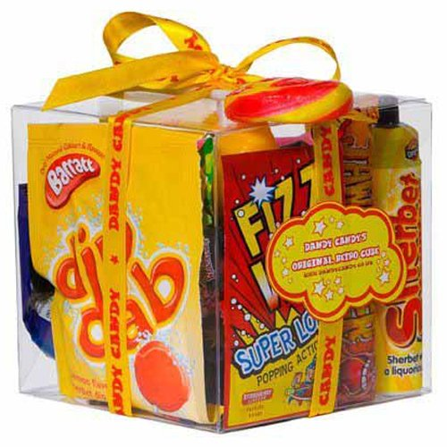 The Original Retro Sweets Gift Cube Box From Dandy Candy filled with 70s Sweets