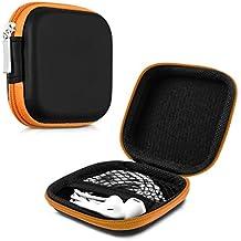 kwmobile Estuche rígido para In-Ear auriculares en naranja - Estuche de alta calidad para tus auriculares