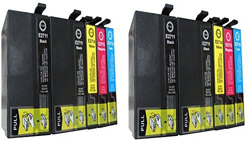 10compatibles. XXL y XL Cartuchos de impresora Repuestos para Epson WF 362036407620761071104x Negro 2X Azul 2X rojo 2x Amarillo