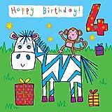 twizler 4. Geburtstag Karte für Kind mit Zebra, Affe und stellt mit kommt Kulleraugen–4Jahr alt–Alter 4–Kinder Geburtstag–Mädchen Geburtstag Karte–Jungen Geburtstagskarte