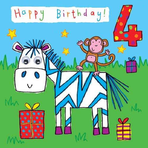 (twizler 4. Geburtstag Karte für Kind mit Zebra, Affe und stellt mit kommt Kulleraugen–4Jahr alt–Alter 4–Kinder Geburtstag–Mädchen Geburtstag Karte–Jungen Geburtstagskarte)