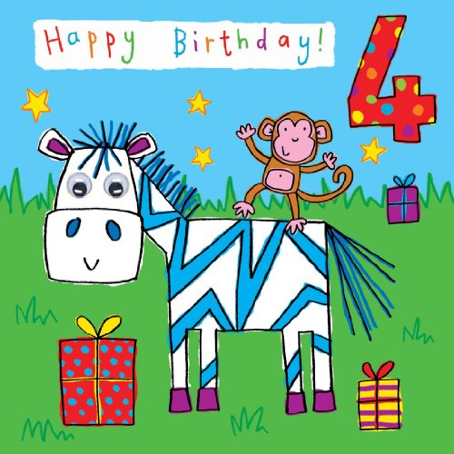 Twizler 4th Birthday Card For Child With Zebra Monkey Hand Finished Googly Eyes 4 Year Old Age Childrens